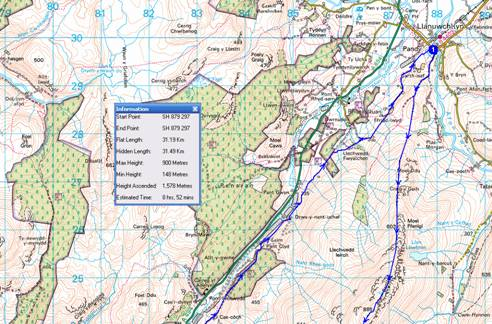 Map of walk up Aran Fawddwy