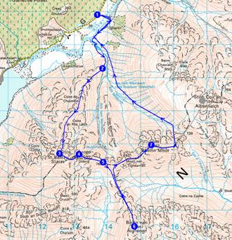 Route up Ben Starav - 19km, 1985 metres ascent - 9.5 hours