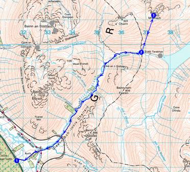 Sue and Alastair's route up Beinn Mhanach - 19km, 913 metres ascent, 5 hours
