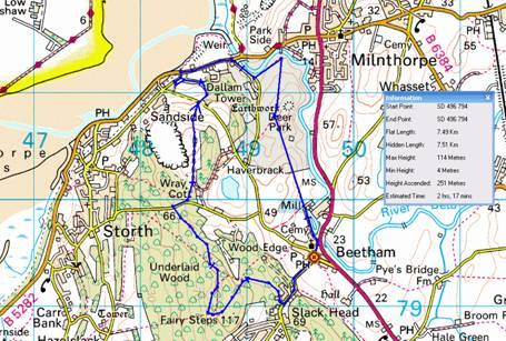 Map of South Lakes route