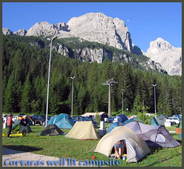 The camp site at Corvara