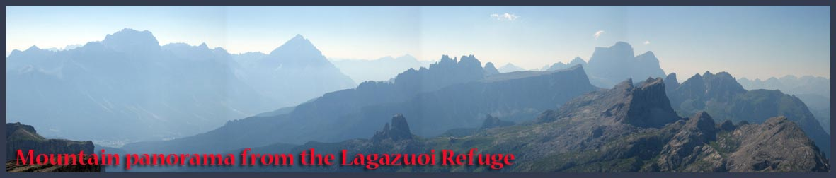 Panorama from Lagazuoi Refuge, with Sorapis, Croda da Lago, Averau and Pelmo, amongst other peaks