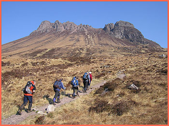 Paul, Andrew, Pam, Dave and Barry set off up the beautifully constructed path around Stac Pollaidh