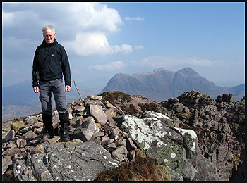 The author makes it to Stac Pollaidh summit, with Cul Mor in the background
