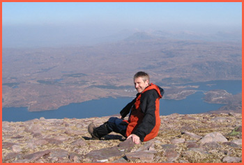 Paul enjoys the view from Quinag (picture courtesy of Pam Conroy)