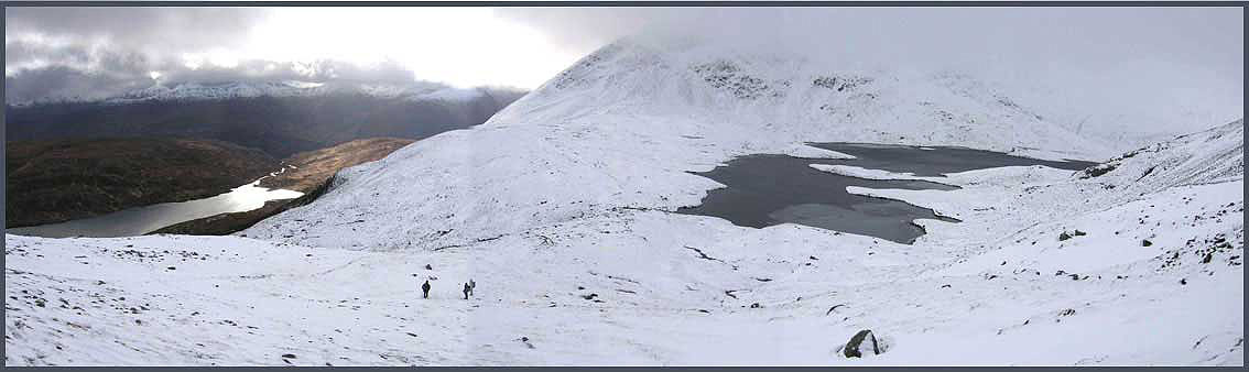 Descending towards Loch Eilde Mor, with Coire an Lochan to the right