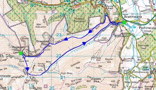 Hopegill Head walk - map of route