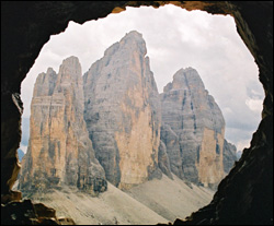 Tre Cime from tunnel