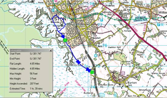 Walking route from Burton Marsh to Little Neston and back via The Harp Inn