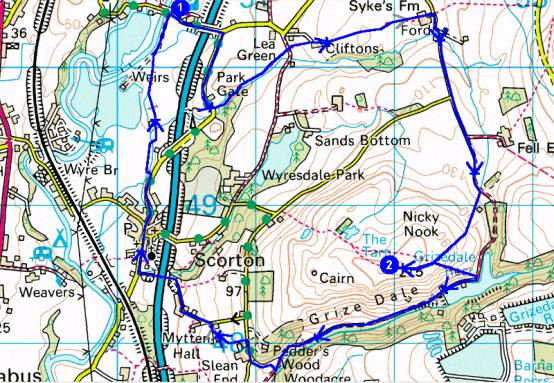 Map showing route of walk to Nicky Nook