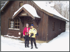 Helen and Linda outside Huron Cabin