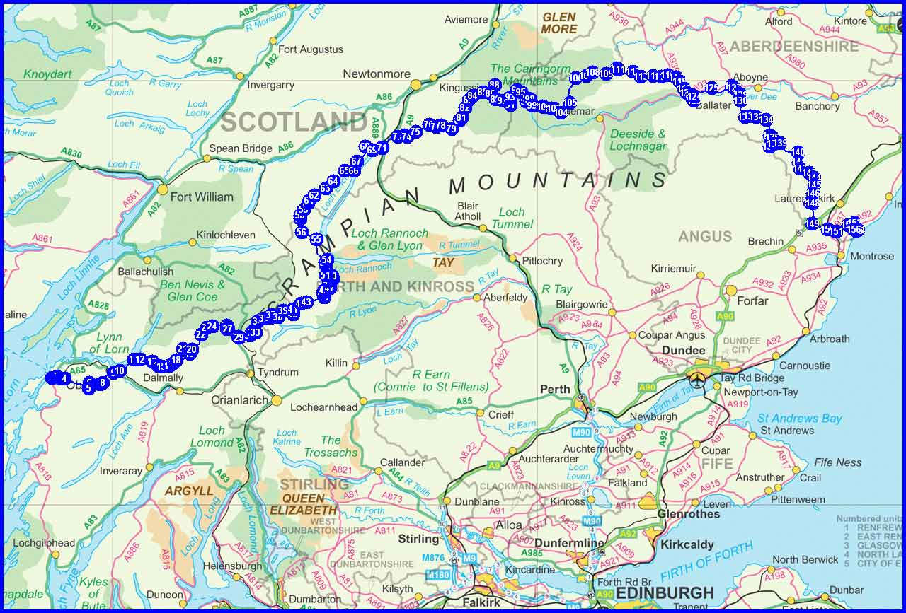 Martin and Poor Michael's planned TGO Challenge route - 2011