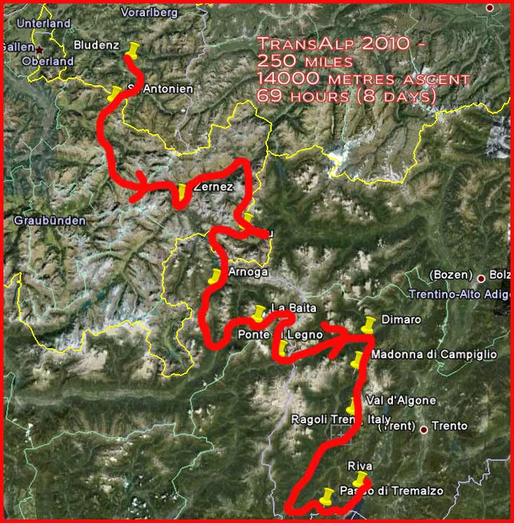 TransAlp 2010 - the route