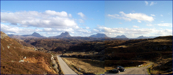 Canisp, Suilven, Cul Mor, Cul Beag & Stac Pollaidh from beyond Lochinver