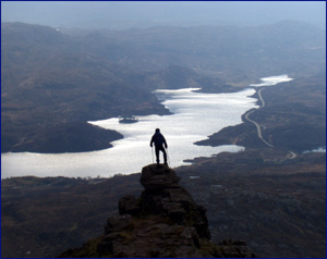 An airy viewpoint over Loch Assynt from Quinag
