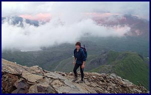 Sue strolls up to the start of the scramble over Crib Goch
