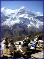 Lemon tea stop overlooking Annapurna range