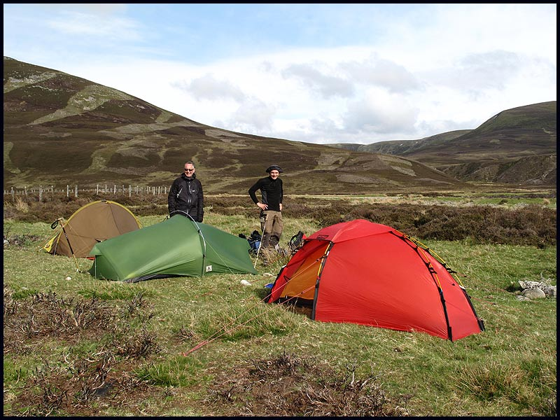 Wild camping on the TGO Challenge, near Dalwhinnie, with Mike and Stefan