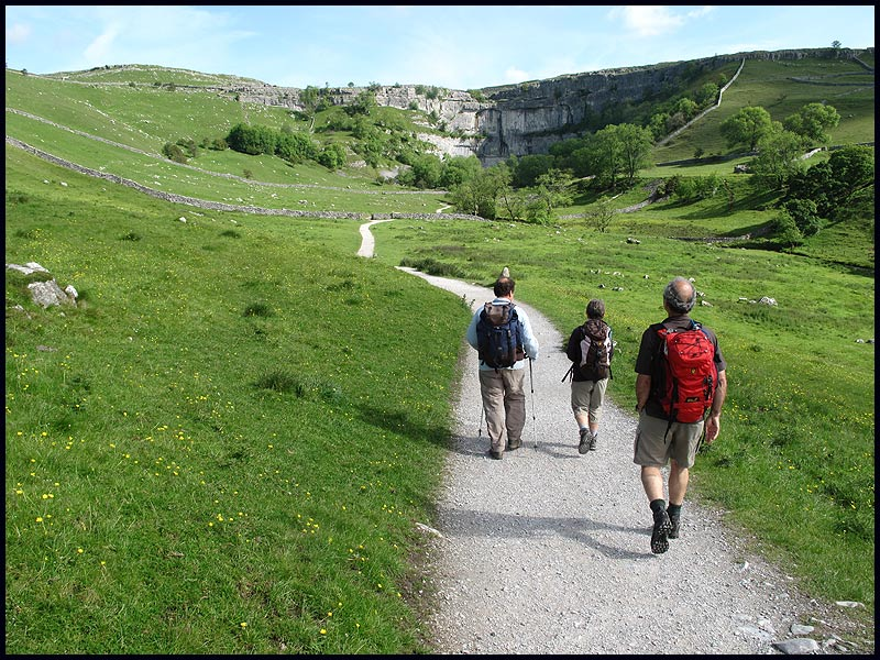 Roger and Jacky joined Andrew and Martin for a day in the Dales - here approaching Malham Cove, before watching the Peregrine Falcons