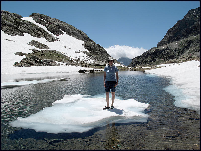 Sue on an iceberg in the Maritime Alps