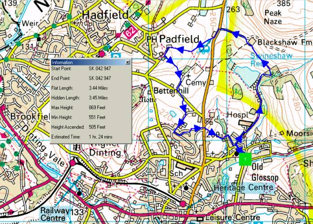 Walking route from Old Glossop to Blackshaw Farm, Little Padfield and back to Old Glossop